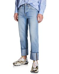 Valentino Men's Loose-fit Cuffed-hem Jeans - Blue