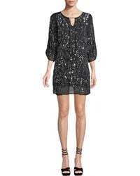 Tolani - Saida Ruched 3/4-sleeve Sequined Tunic Dress - Lyst