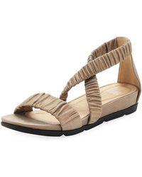 Eileen Fisher | Dylan Scrunched Metallic Suede Flat Sandal | Lyst