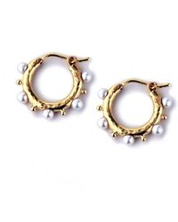 Elizabeth Locke - Big Baby 19k Gold & Pearl Hoop Earrings - Lyst