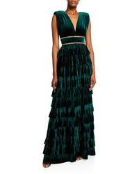 Bronx and Banco Deep V-neck Sleeveless Tiered Velvet Gown W/ Waist Trim - Green