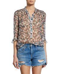 Rag & Bone - Susan Floral-print Chiffon 3/4-sleeve Blouse - Lyst