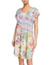 Johnny Was Dreamer-print Cap-sleeve Nightgown - Blue