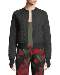 Norma Kamali - Cropped Quilted Zip-front Bomber Jacket - Lyst