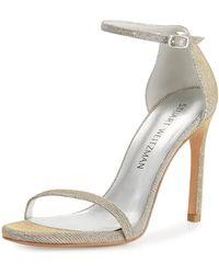 Stuart Weitzman | Nudistsong Shimmery Ankle-wrap Sandal | Lyst