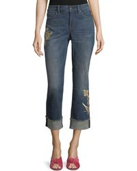 NYDJ - Marilyn Floral-applique Ankle Jeans - Lyst