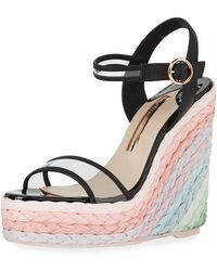 Sophia Webster Lucita Pastel Wedge Espadrilles - Black