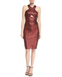 Aidan By Aidan Mattox | Sequin Halter Crossover Cocktail Dress | Lyst