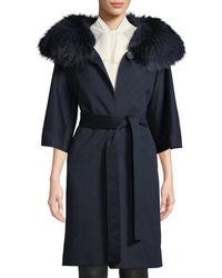Fleurette - Wool Cocoon Coat W/ Oversized Fur Collar - Lyst