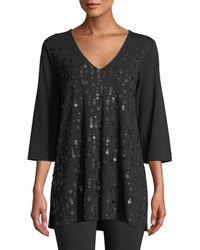 Joan Vass V-neck 3/4-sleeve Sequined-front Cotton Interlock Tunic - Black