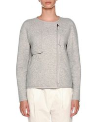 Agnona - Crewneck Sip-front Cashmere Jacket With Leather Piping - Lyst