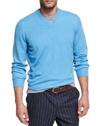 Brunello Cucinelli - Cashmere Vneck Sweater With - Lyst