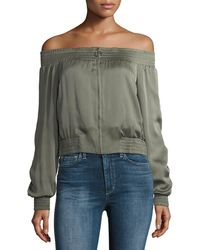 BCBGMAXAZRIA - Marco Off-the-shoulder Zip-front Satin Top - Lyst