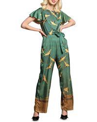 Eva Franco Miranda Cranes Flutter-sleeve Jumpsuit - Green