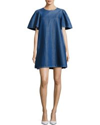 Co. - Denim Short-sleeve Swing Tunic Dress - Lyst