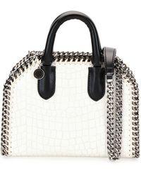 Stella McCartney Falabella Mini Crocodile-embossed Box Satchel Bag - White