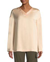 Tom Ford - V-neck Long-sleeve Straight Silk Blouse - Lyst