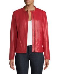 Neiman Marcus - Perforated Zip-front Leather Jacket - Lyst