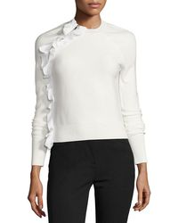 3.1 Phillip Lim - Solid Ruffle Long-sleeve Pullover Top - Lyst