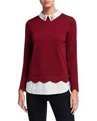 Joan Vass - Plus Size Jewel Collar Cotton Sweater W/ Silk Layer - Lyst