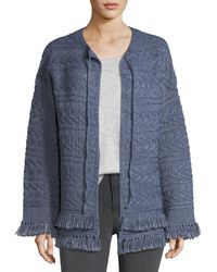 Current/Elliott | The Cable-knit Chevron Cotton Sweater W/ Fringe | Lyst
