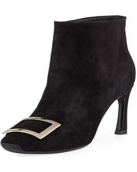 Roger Vivier - Trompette Extra Low Suede Bootie - Lyst