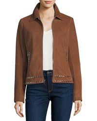 Neiman Marcus - Suede Zip-front Studded Jacket - Lyst