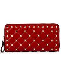 Valentino - Rockstud Quilted Zip-around Wallet - Lyst