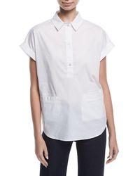 Emporio Armani - Short-sleeve Collared Boxy Cotton Poplin Blouse - Lyst