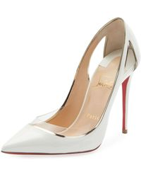 c84fe862ec28 Christian Louboutin - Cosmo 554 Patent vinyl High-heel Red Sole Pumps - Lyst