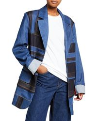 NO KA 'OI Patchwork Denim Jacket - Blue