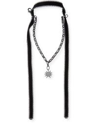 Hipchik Couture Many Star Necklace With Velvet Ties - Black