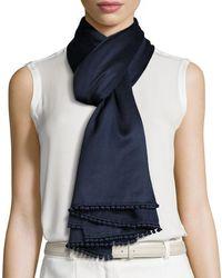 Bajra Pompom-trim Cashmere/silk Scarf - Blue