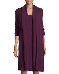 Magaschoni Long Cashmere Vest - Purple
