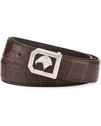 Stefano Ricci - Eagle-buckle Crocodile Belt Brown - Lyst