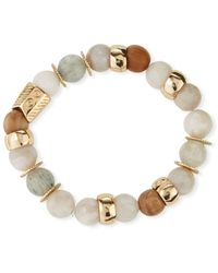 Akola Quartz & Agate Stretch Bracelet - Blue
