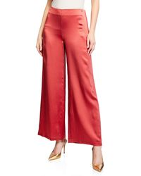 Eileen Fisher - Wide-leg Hammered Silk Side Zip Pants - Lyst