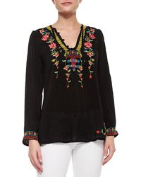 Johnny Was - Suko V-neck Embroidered Blouse - Lyst