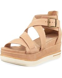 538ba74e1e3 Eileen Fisher - Boost Leather Platform Sandals - Lyst