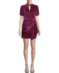Parker - Artie Gathered Velvet Short Dress - Lyst