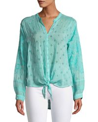 Johnny Was - Hunter Long-sleeve Tie-front Sheer Georgette Blouse Plus Size - Lyst
