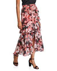 MISA Los Angles Kiana Long Tiered Skirt