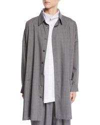 Eskandar - Tasmanian Mini-plaid Wool A-line Shirt Jacket - Lyst