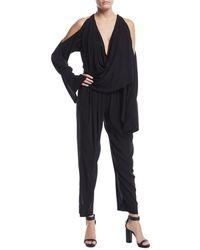 Urban Zen - Draped-front Cold-shoulder Jumpsuit - Lyst