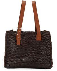 Loewe Men's Woven Leather Buckle Tote Bag - Brown
