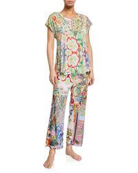 Johnny Was Dreamer Floral-print Cap-sleeve Crop Pajama Set - Multicolor