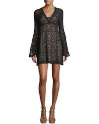 Nanette Lepore - Samba V-neck Bell-sleeve Mini Dress - Lyst