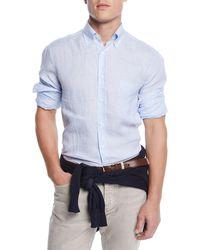 Brunello Cucinelli - Men's Washed Stripe Sport Shirt - Lyst