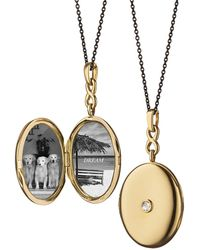 Monica Rich Kosann - 18k Gold Locket Necklace With Diamond Center - Lyst