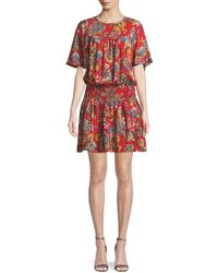 Shoshanna - Emma Smocked-waist Floral Mini Dress - Lyst